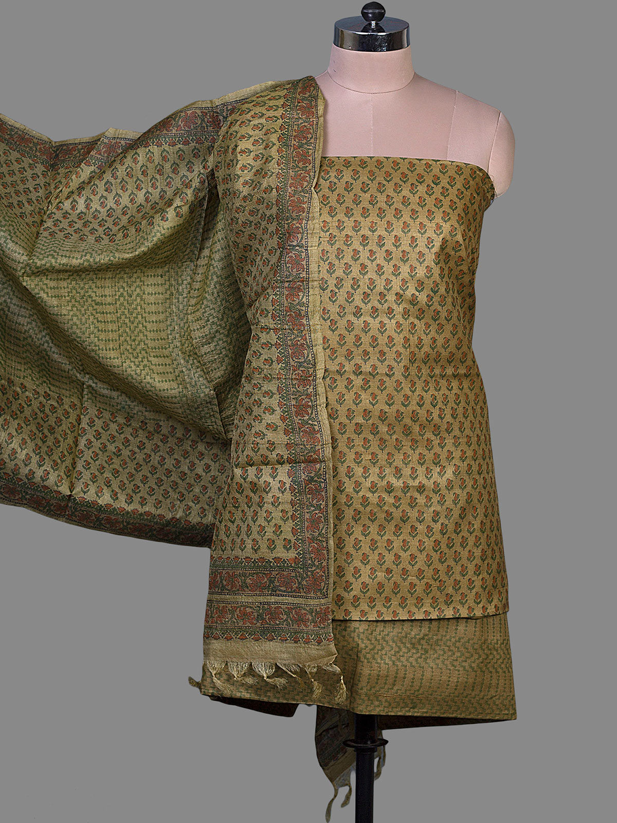 Green Tussar Silk with Block Print Unstiched Dress Material