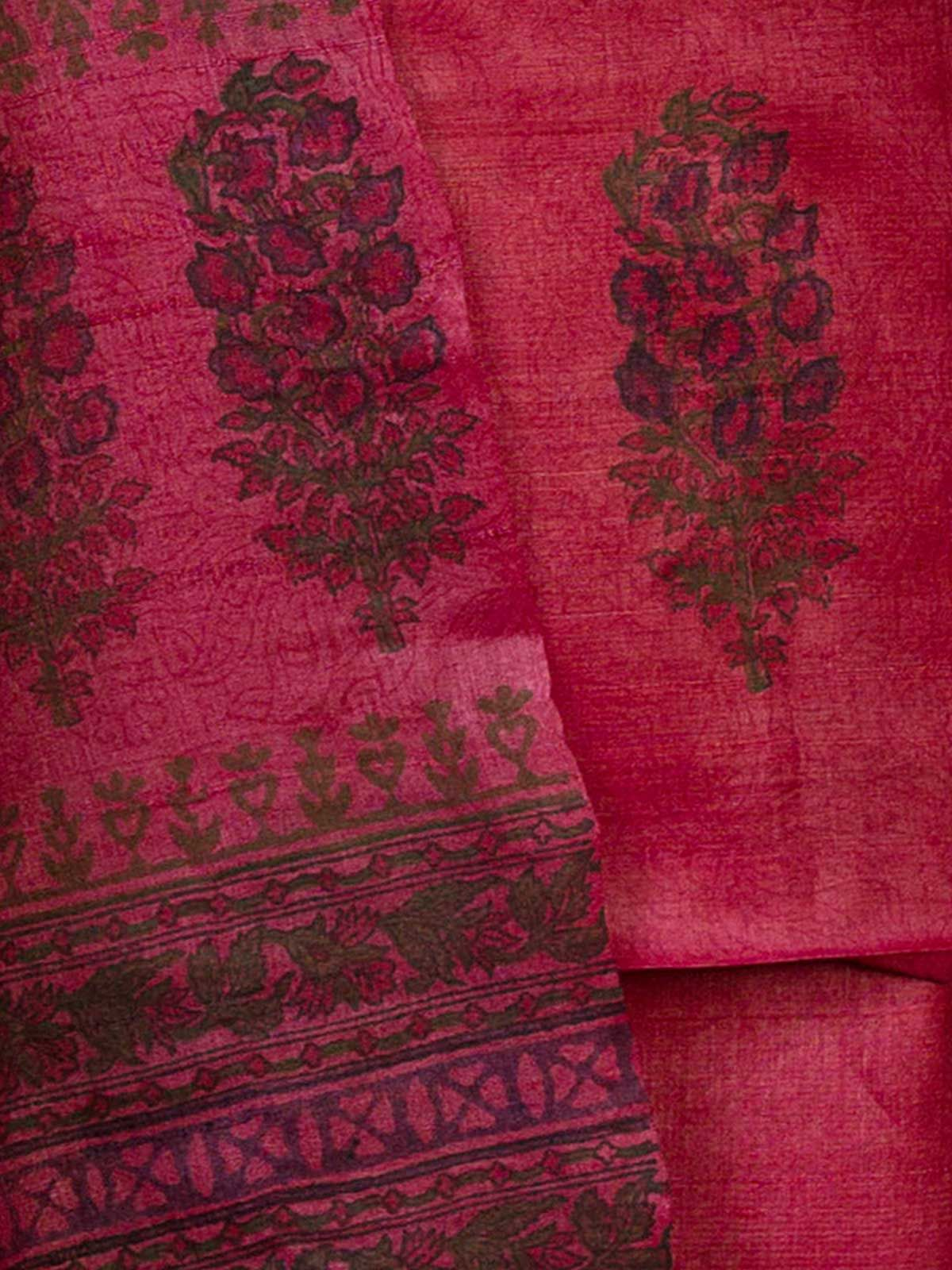 Pink Tussar Silk with Block Print Unstiched Dress Material