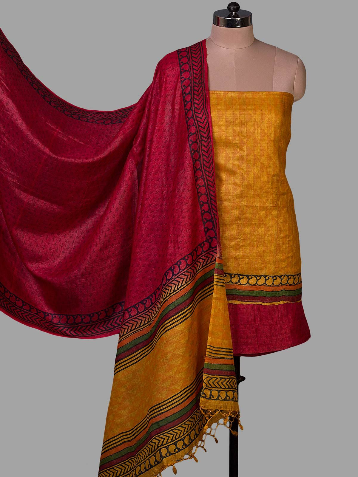 Yellow and Red Tussar Silk with Block Print Unstiched Dress Material