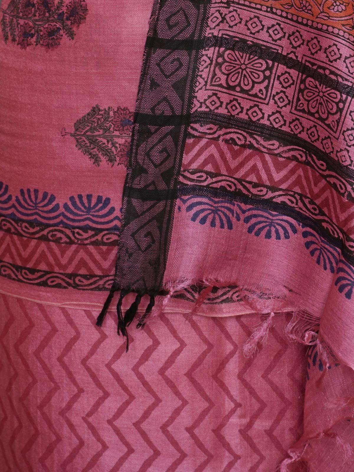 Pink pashmina silk dress material with dupatta