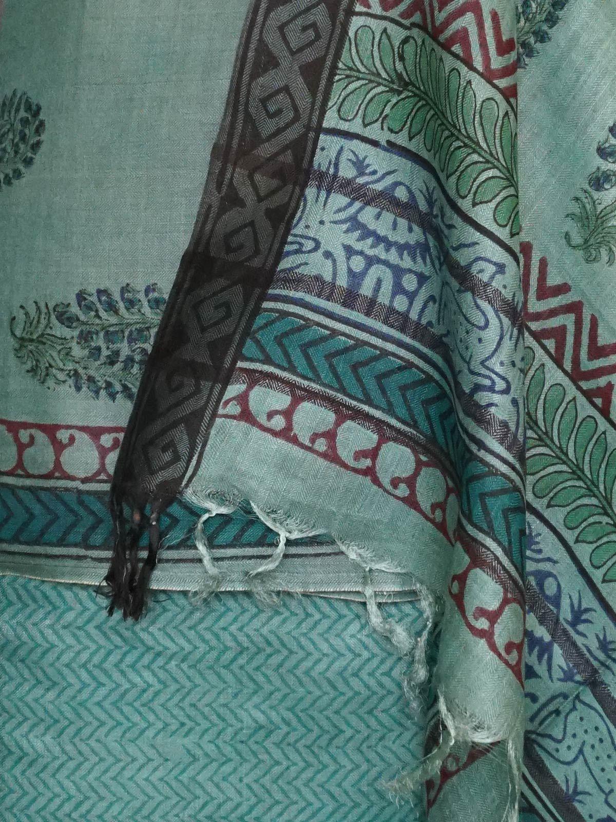 Green pashmina silk dress material with dupatta