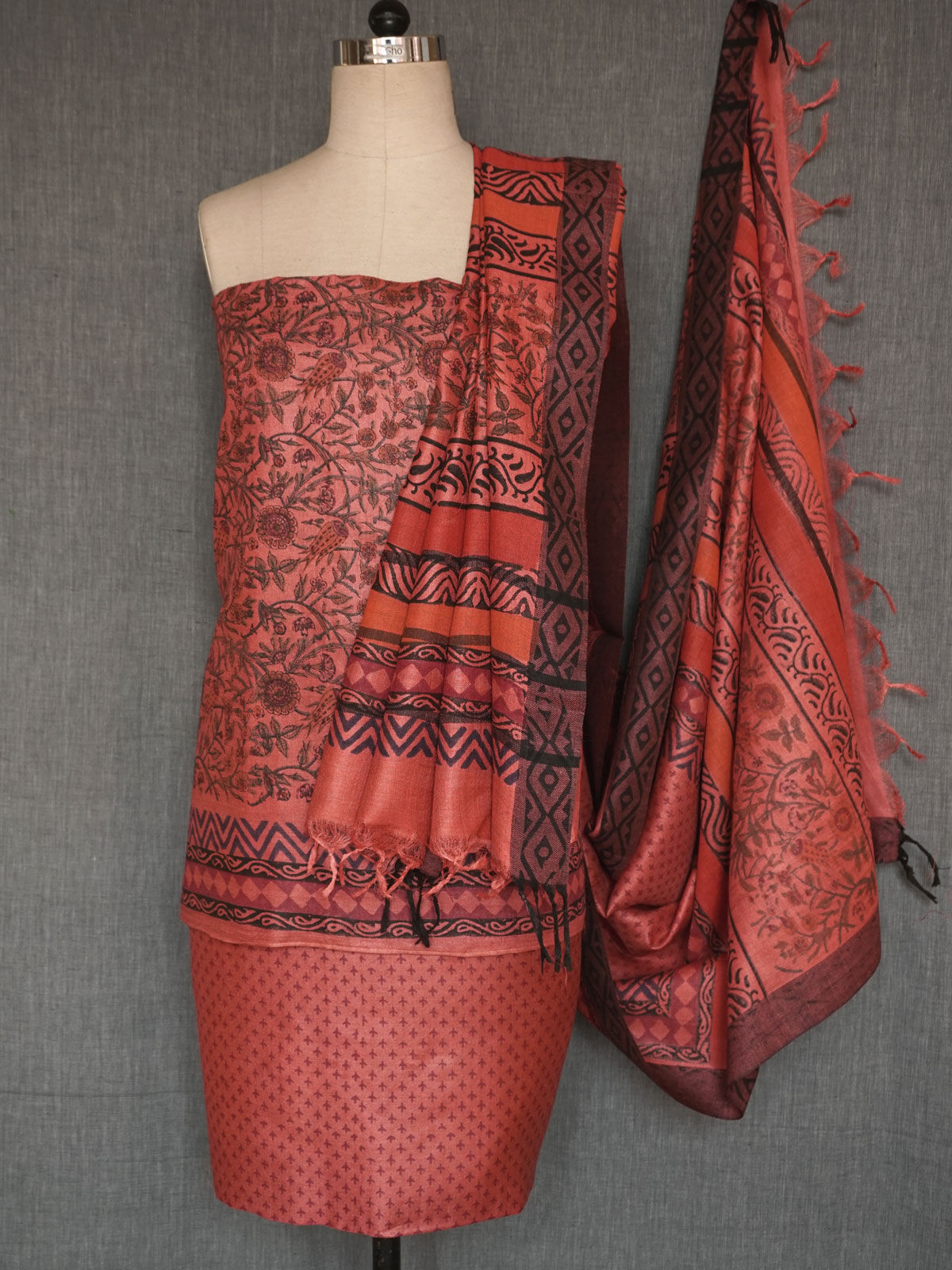 Maroon pashmina silk dress material with dupatta
