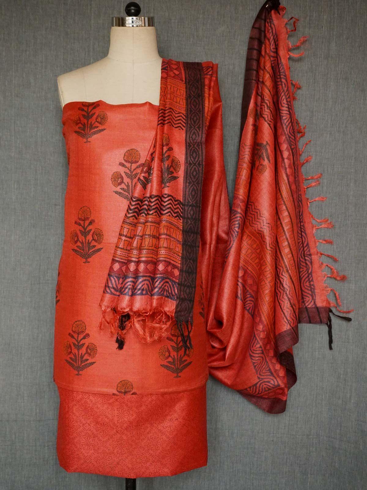 Orange pashmina silk dress material with dupatta