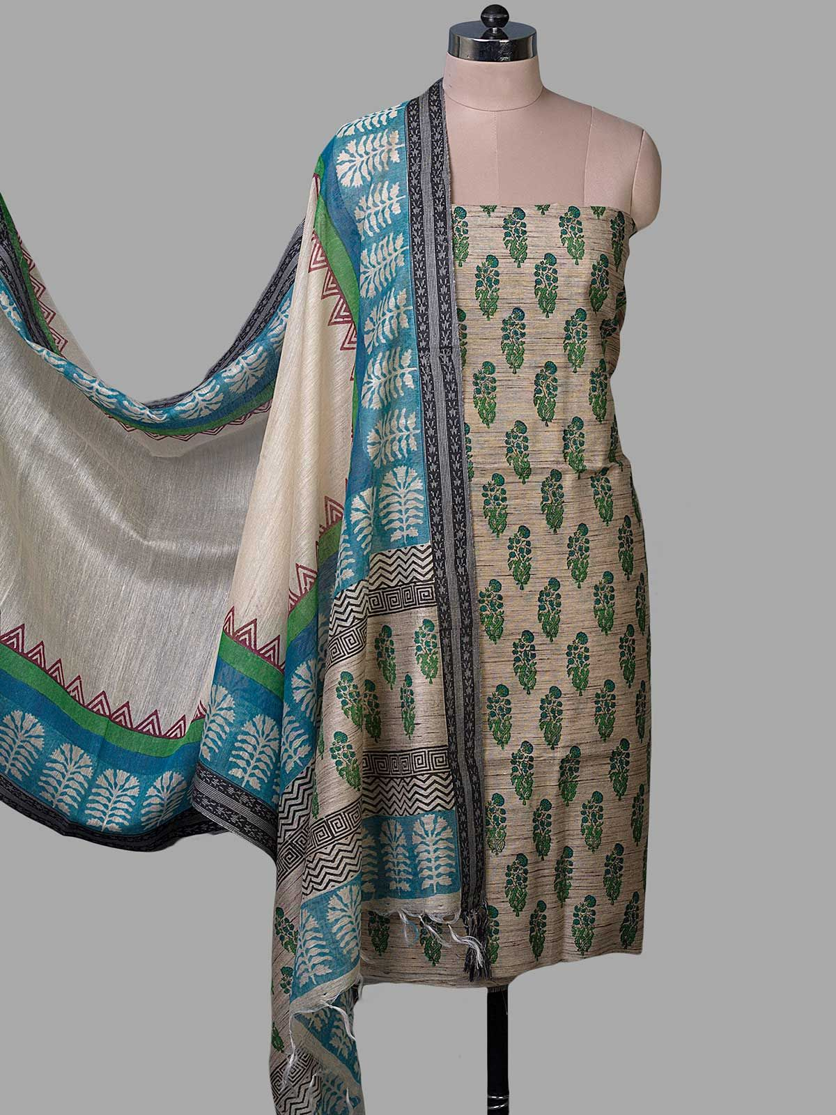 Beige Tussar Silk with Block Print Unstiched Dress Material