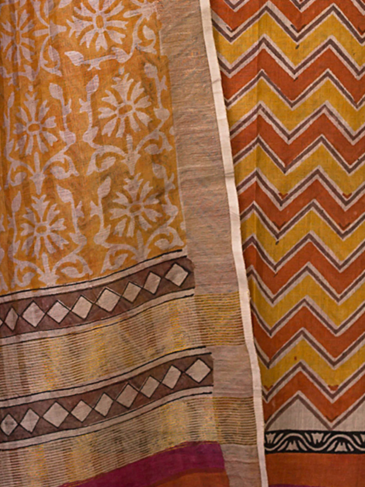Orange Tussar Silk with Block Print Unstiched Dress Material