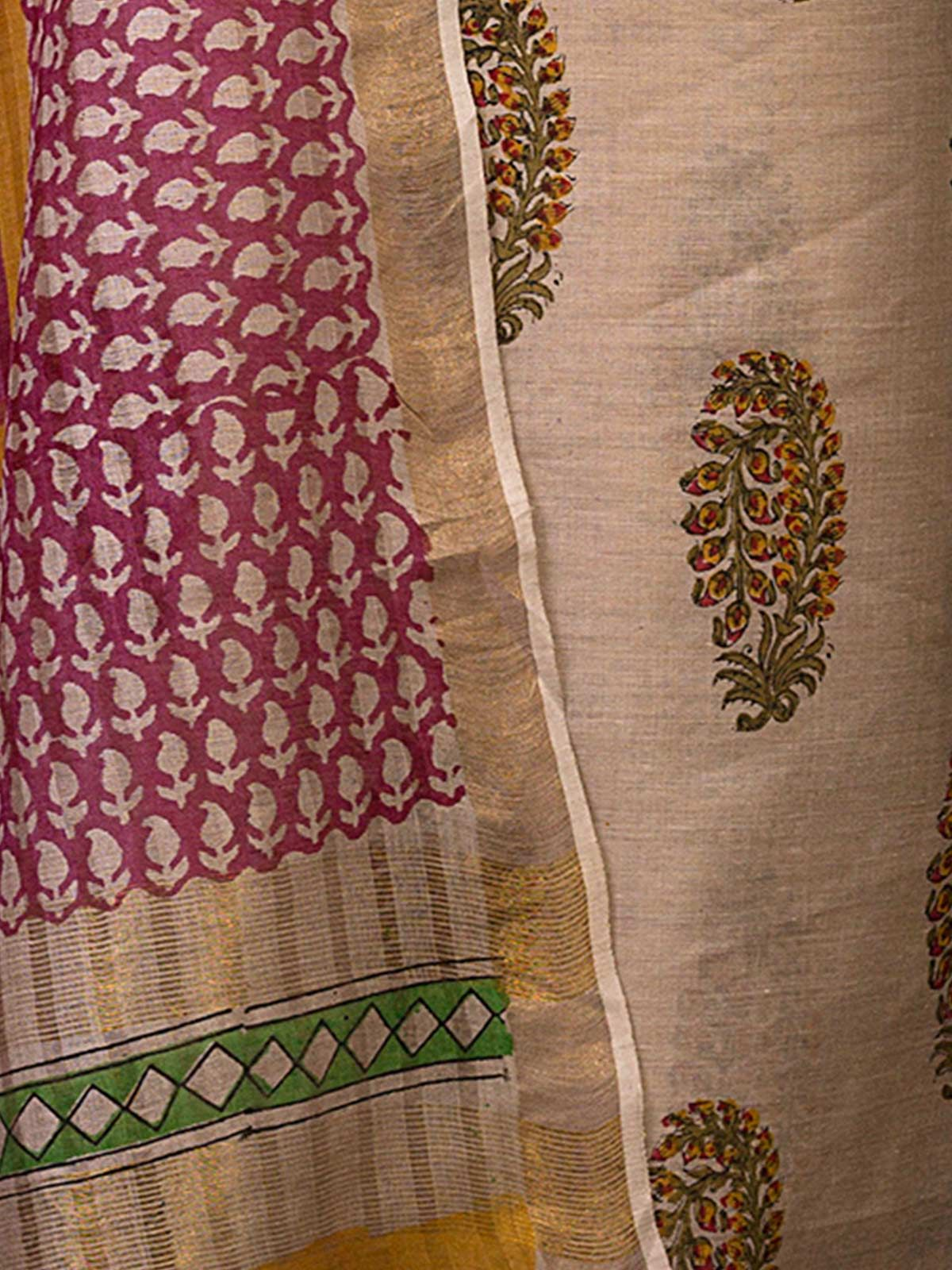 Green and Blue Tussar Silk with Block Print Unstiched Dress Material
