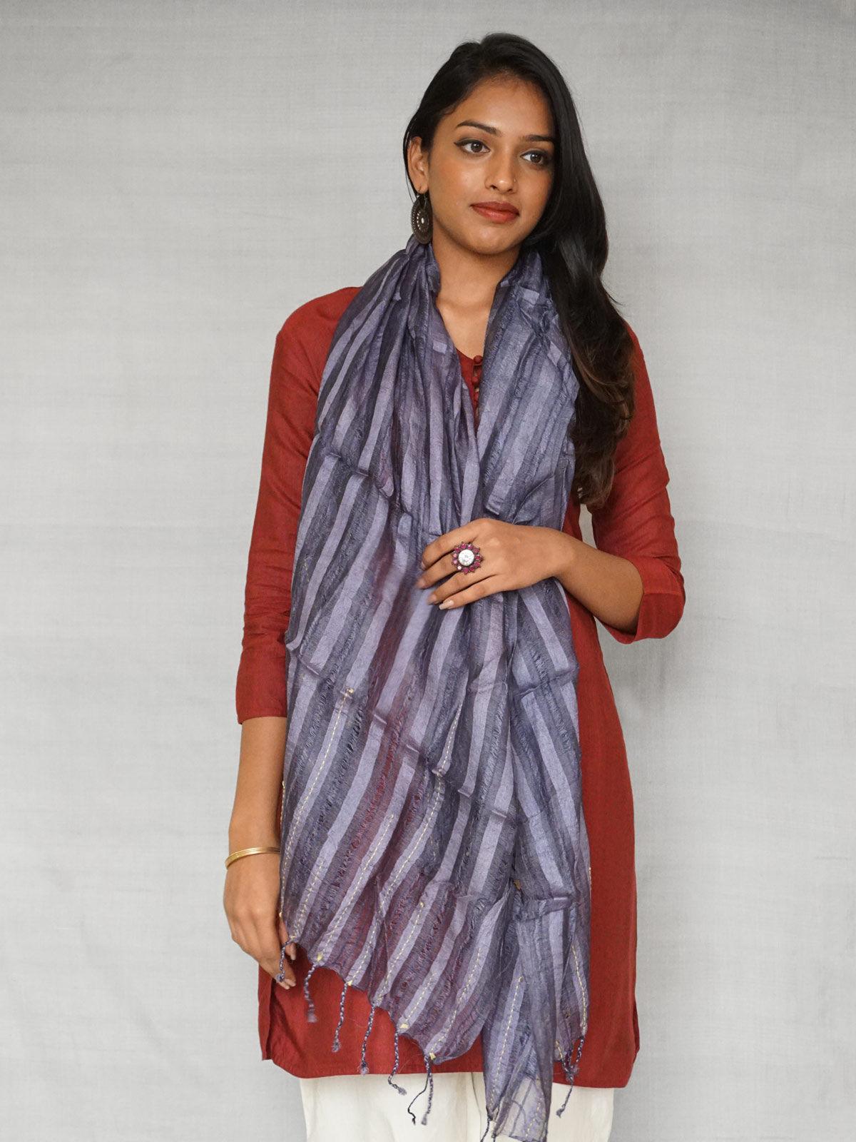 Pure Tussar Silk Purple Stole