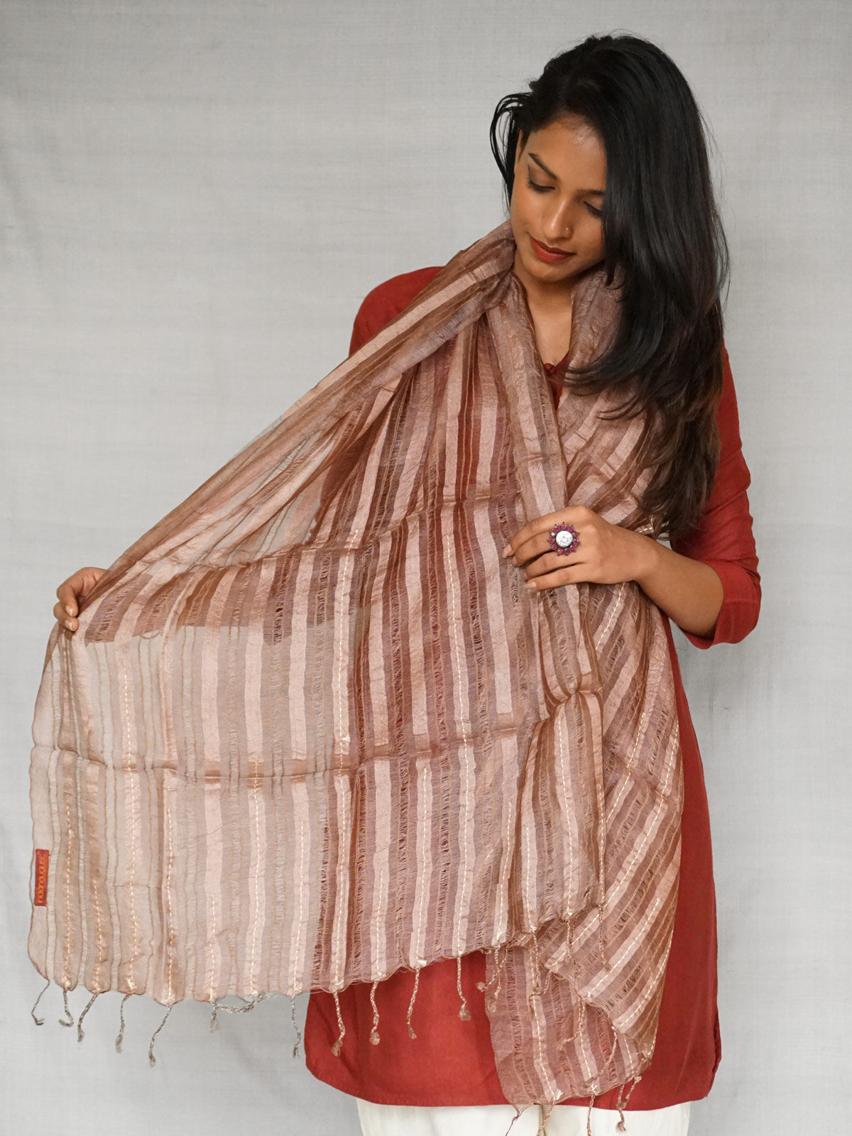 Pure Tussar Silk Brown Stole