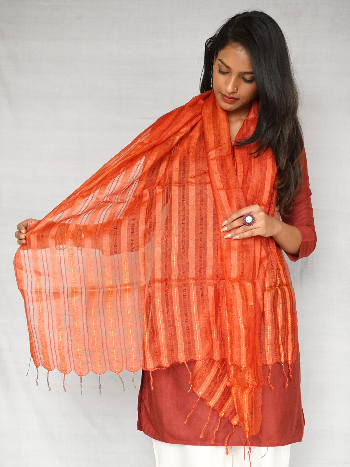 Pure Tussar Silk Red Stole