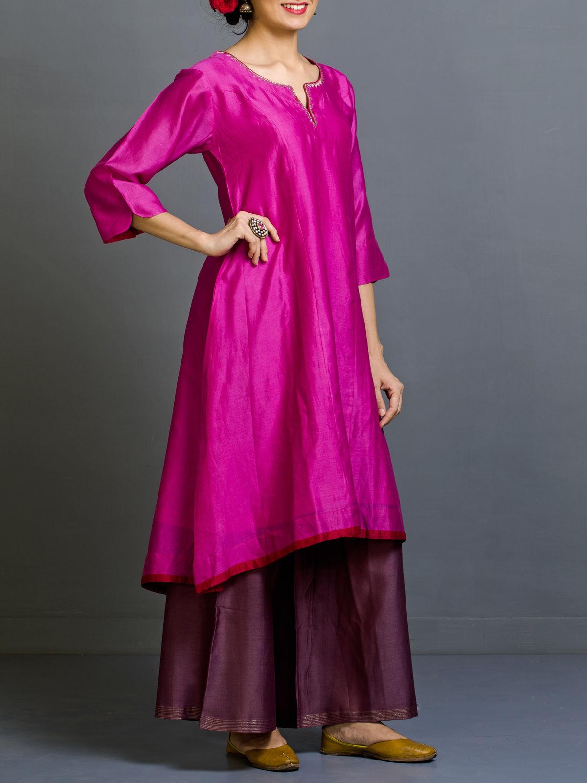 Arjwani Chanderi A-line Kurta
