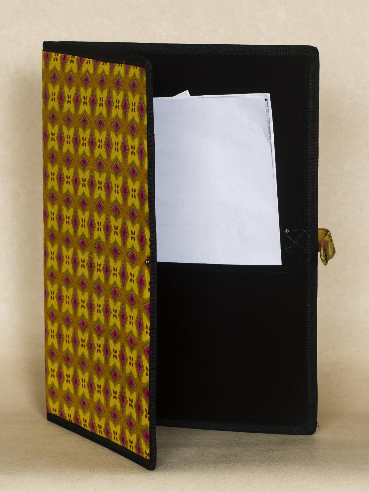 Yellow Block Print Fabric Folder