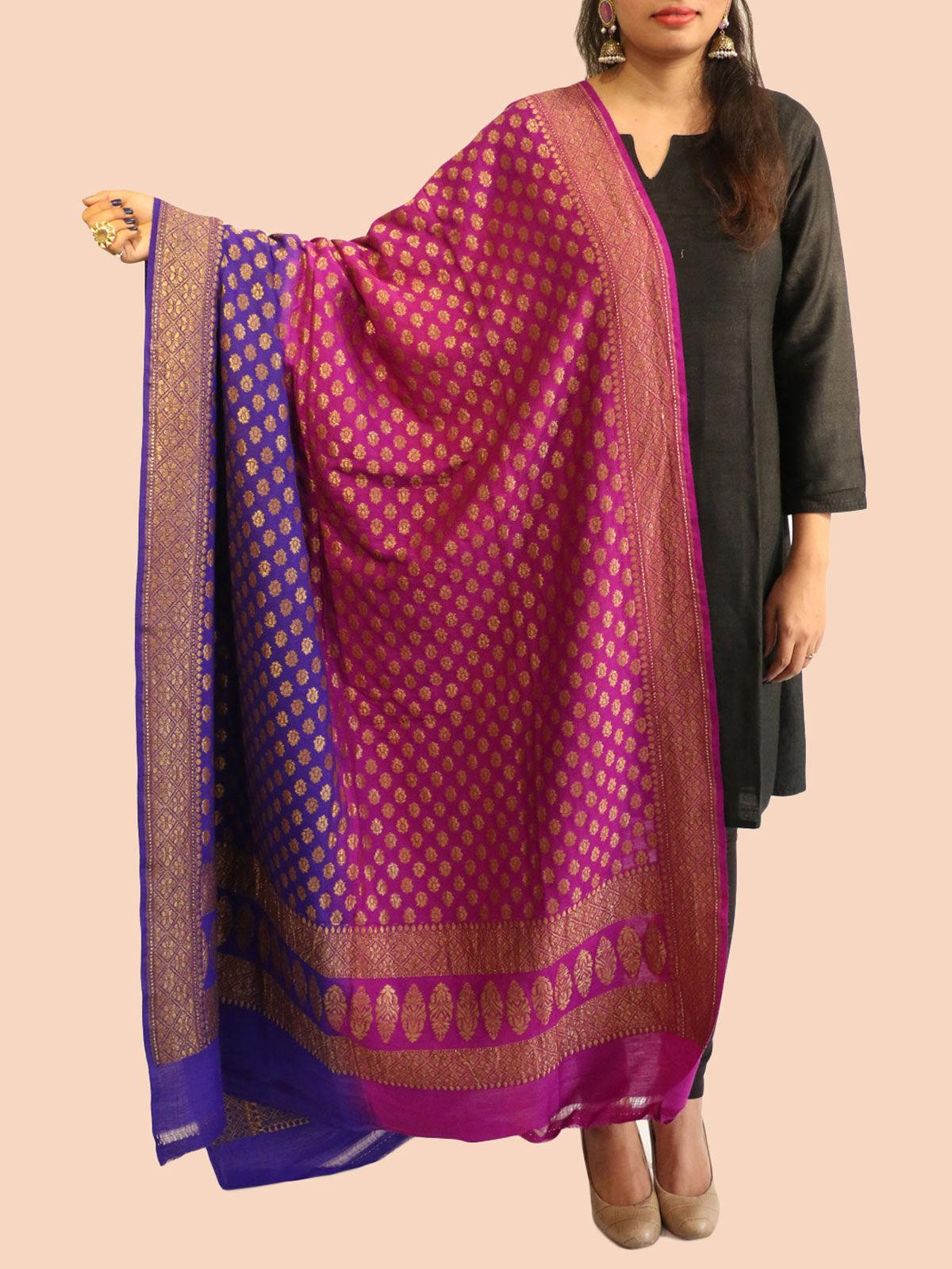 Purple-Pink banarasi silk dupatta