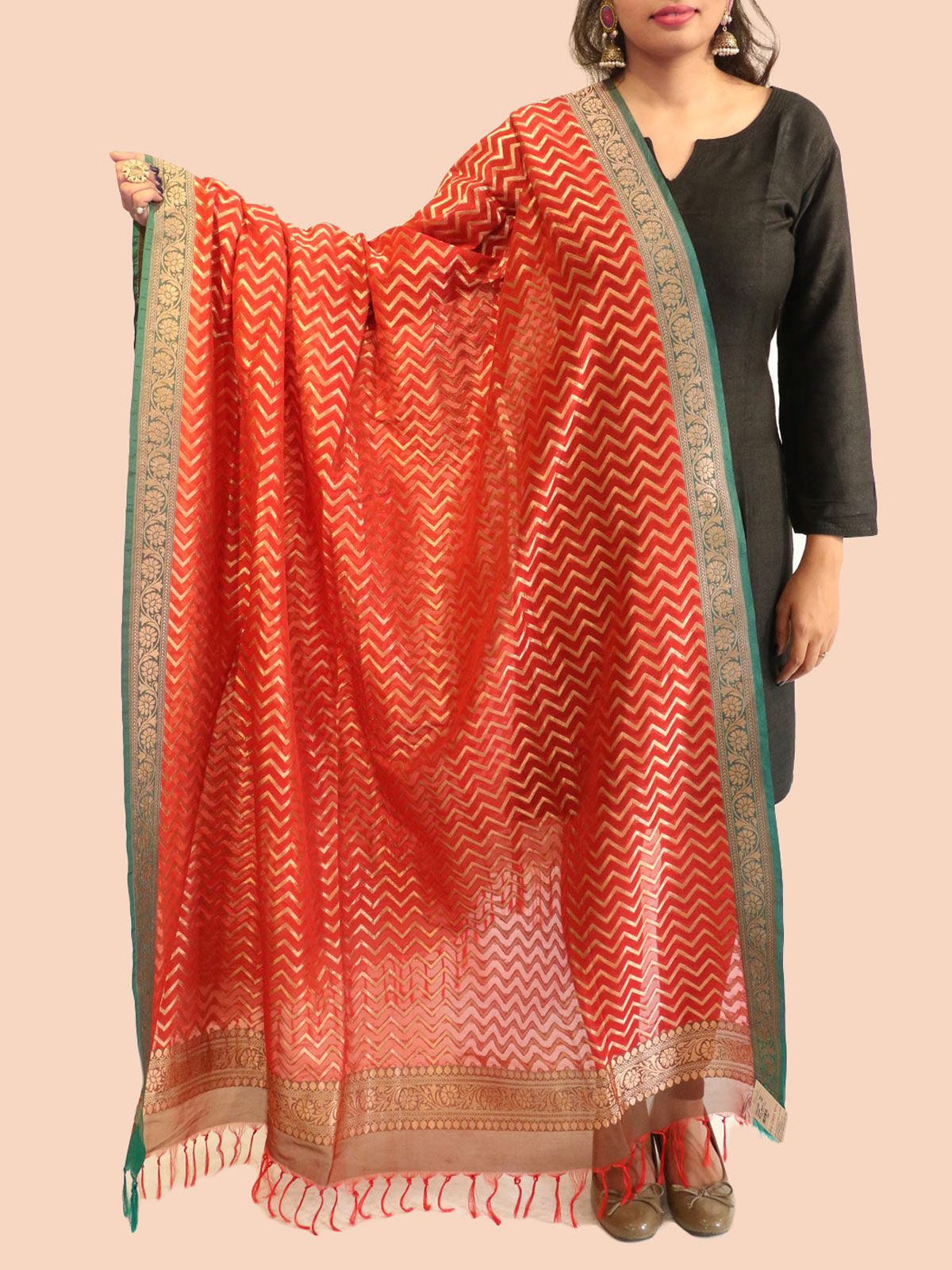 Blue-Orange  banarasi silk dupatta
