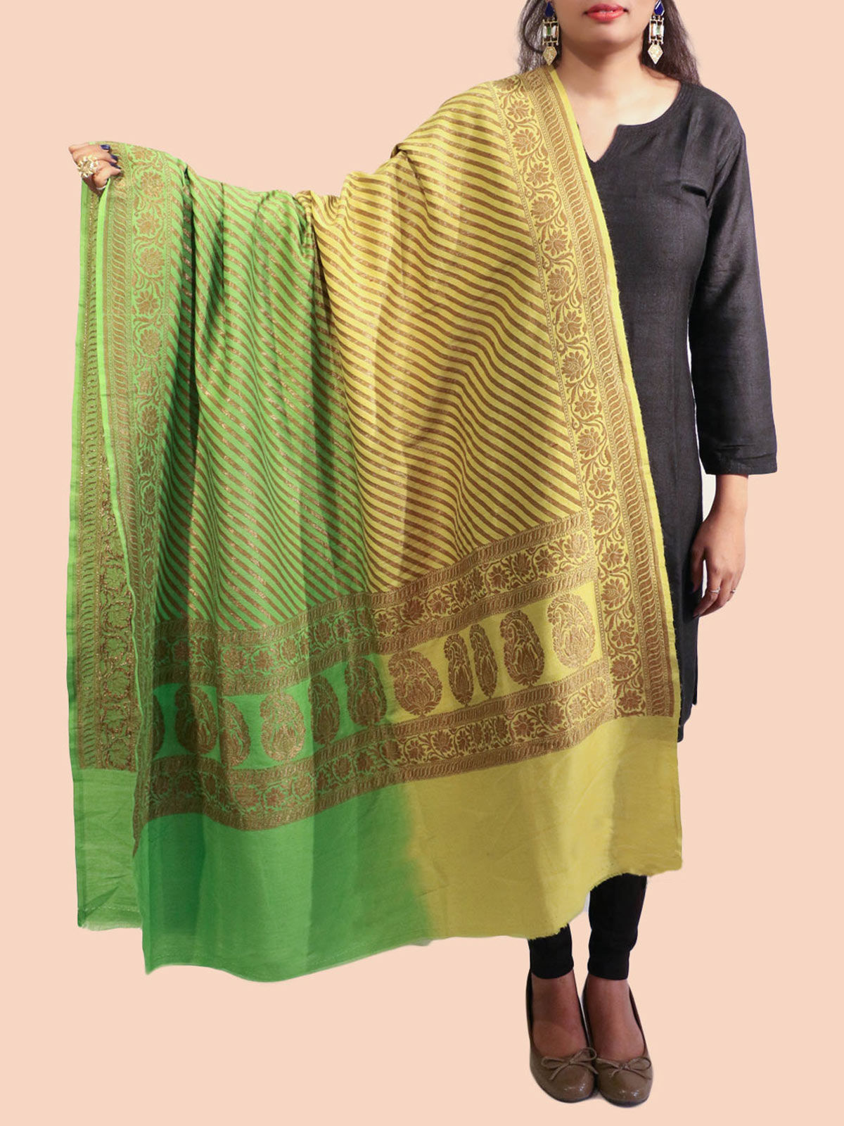 Green-Yellow Banarasi silk dupatta