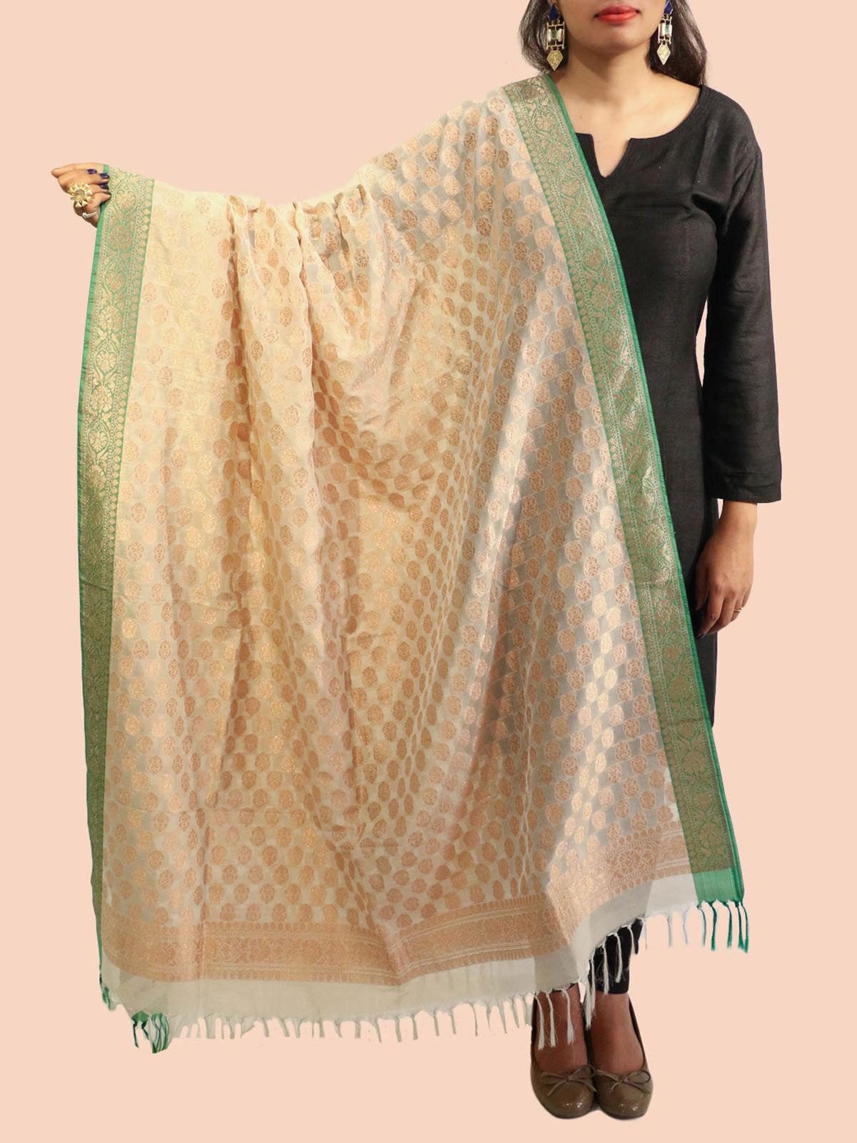 Beige-Green Banarasi silk dupatta