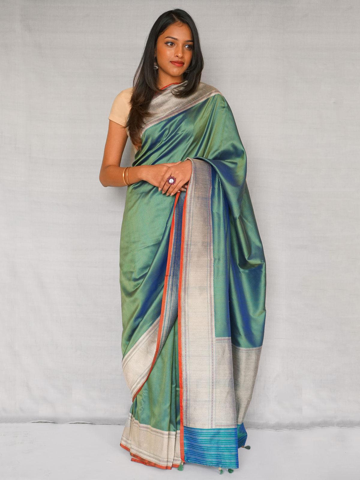 Green  banarasi silk saree.