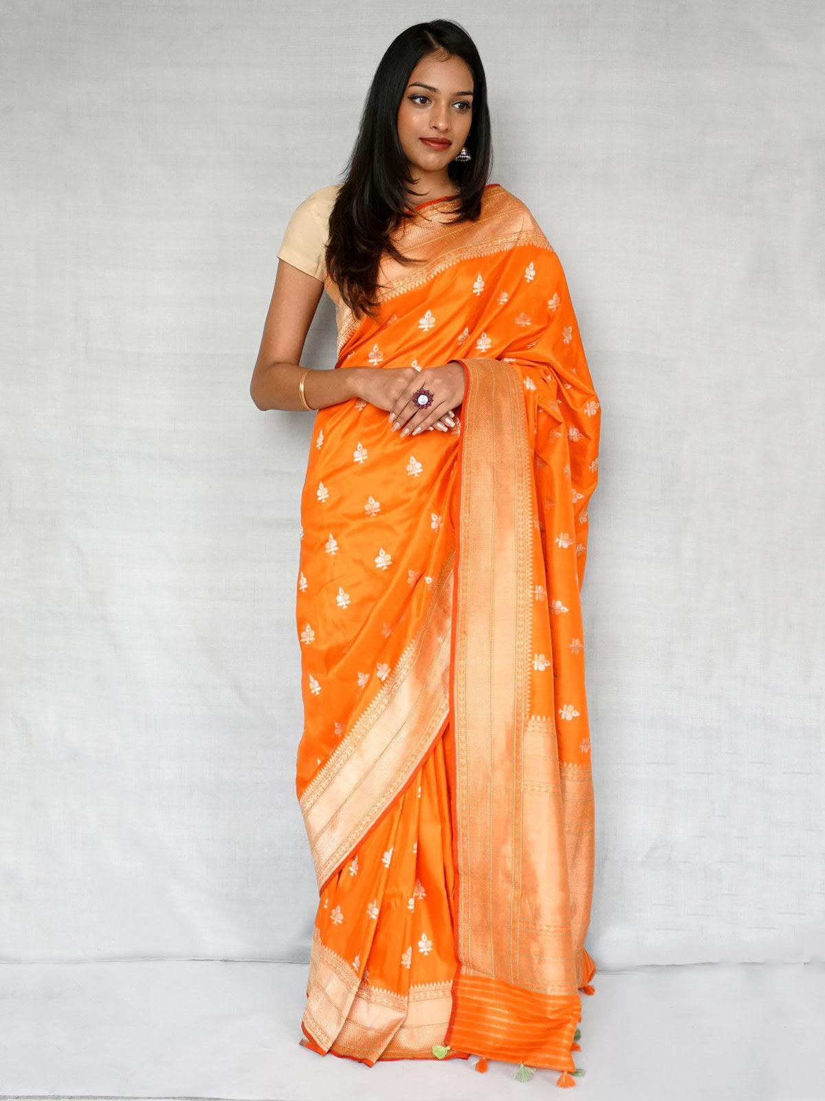 Orange banarasi silk  with blouse.