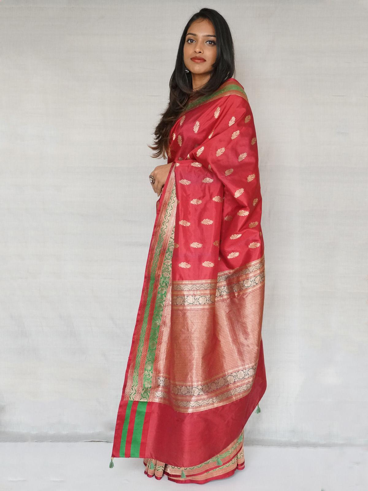 Maroon banarasi pure silk saree with blouse