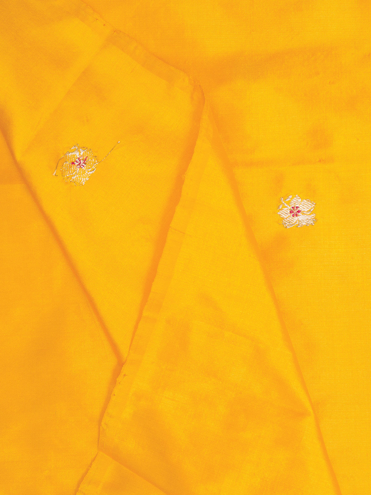 Yellow Banarasi  Silk Fabric