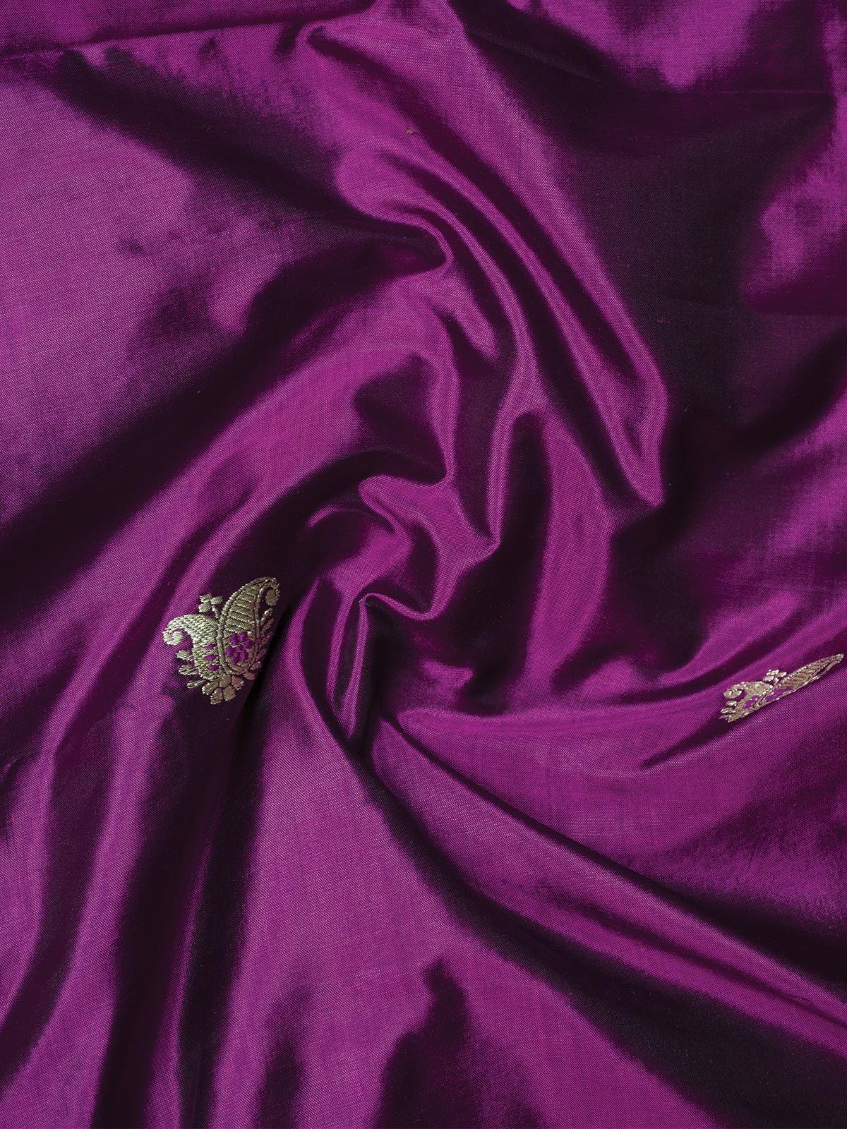 Purple Banarasi  Silk Fabric