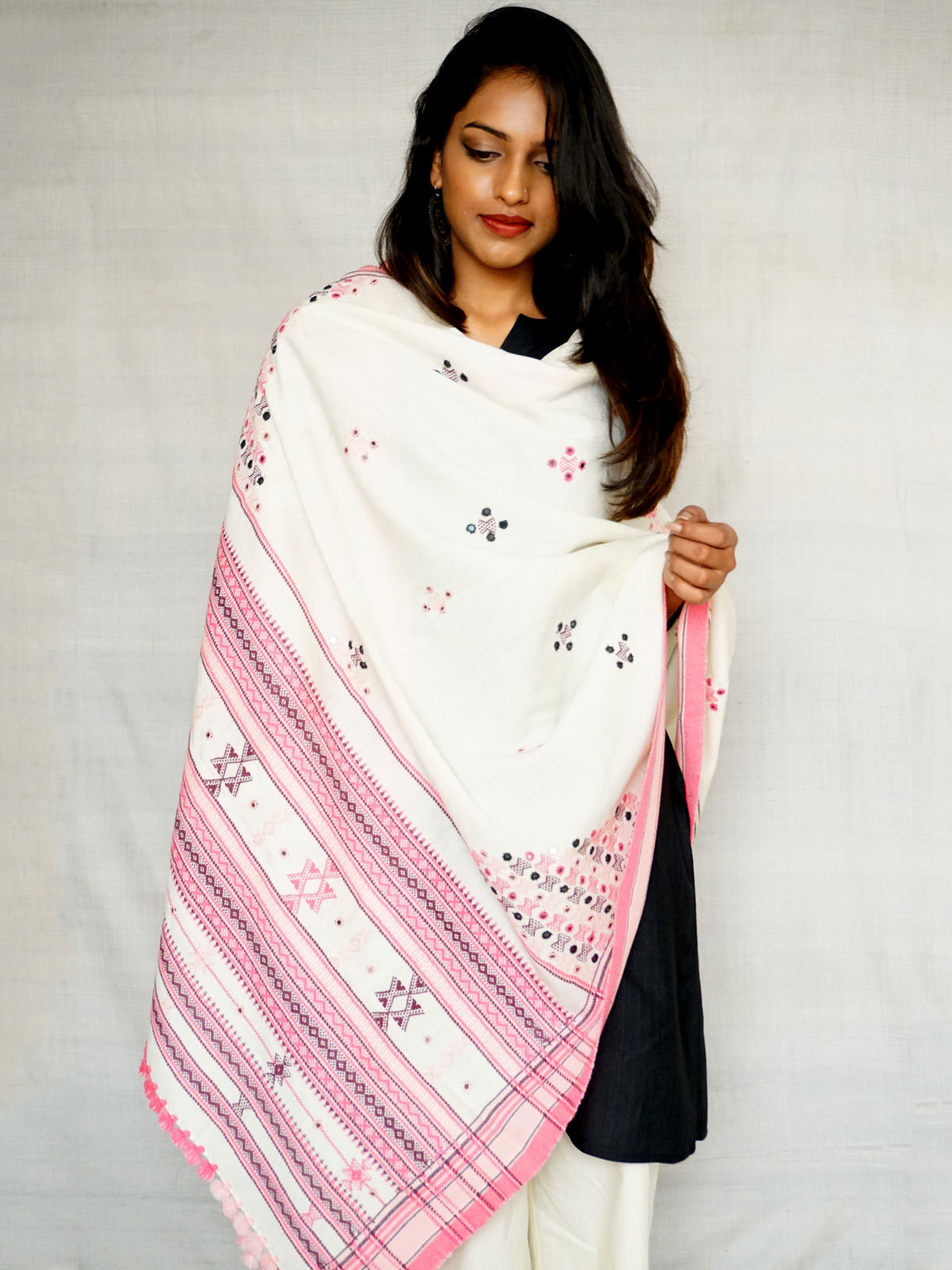 Light pink embroided with mirror work
