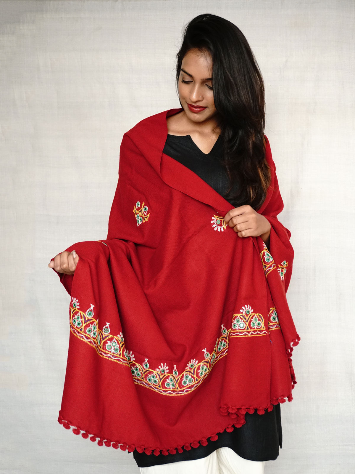 Maroon colour with embroidery