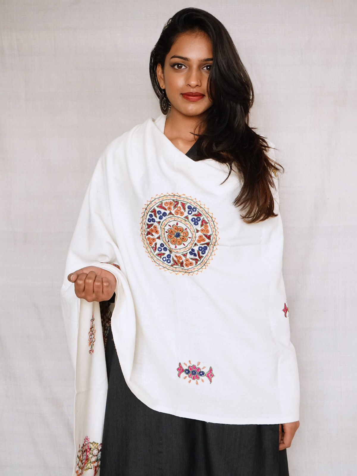 white shawl with multicolour hand embroidery