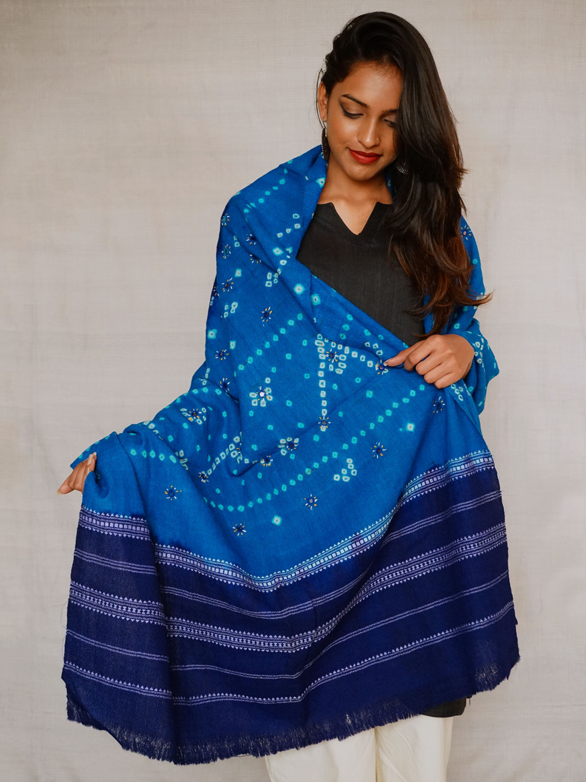 Light blue with contrast ink blue embrioded and mirror work shawl