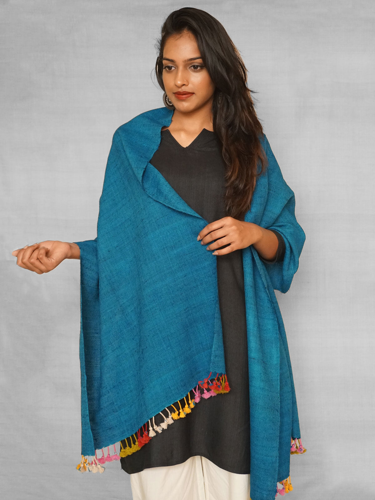 Blue silk stole with multicolour tassels