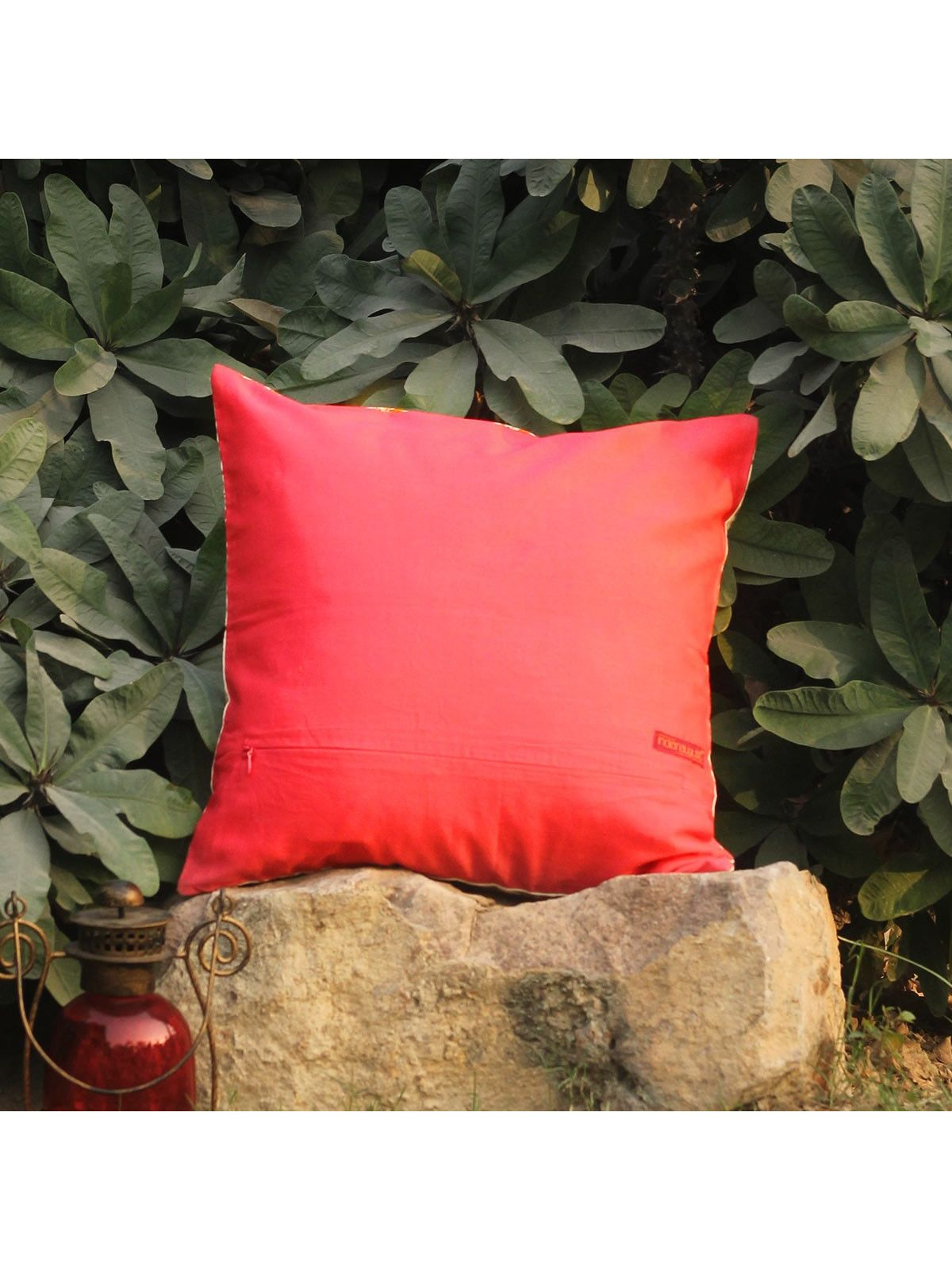 Rose Pink Lambeh Zari cushion