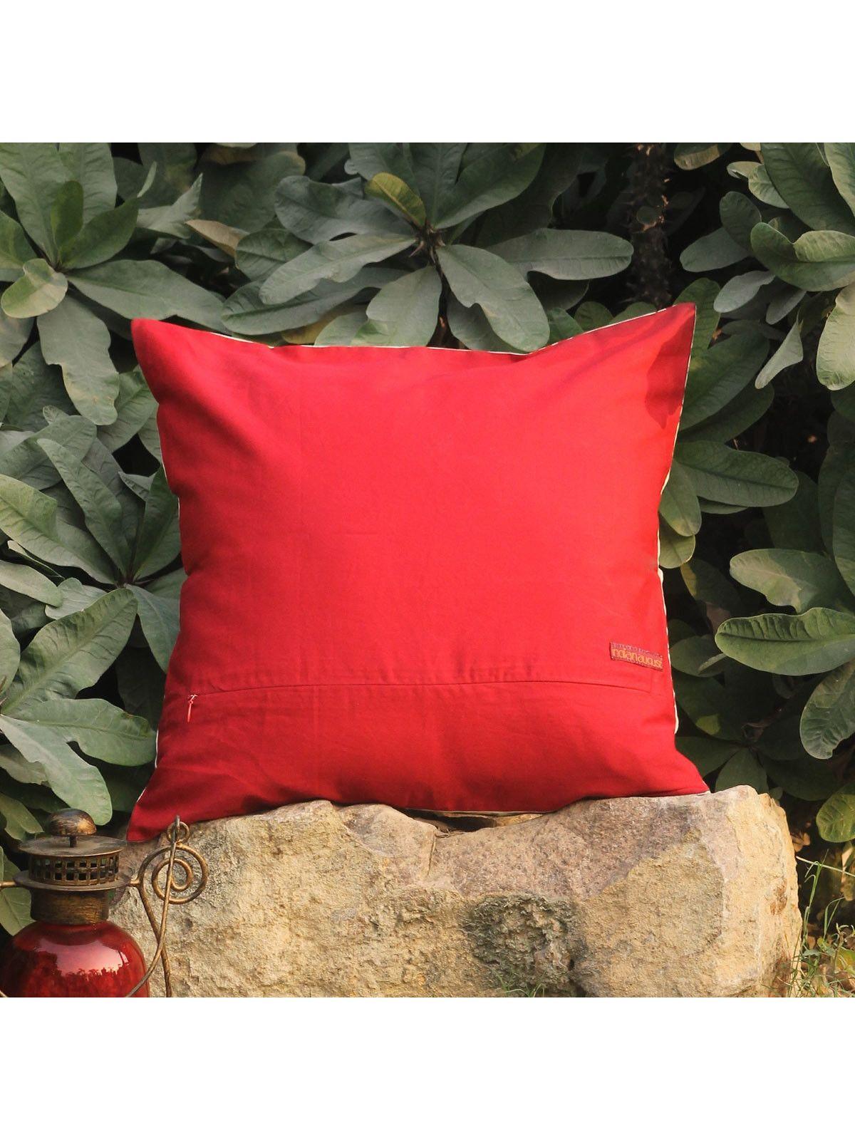 Rose Red Lambeh Zari cushion