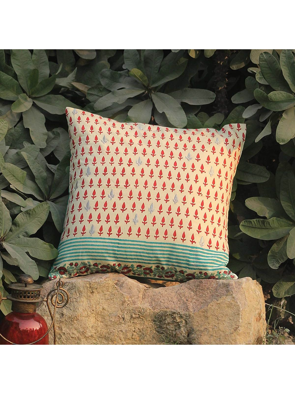 Rose Red Amraah Zari cushion