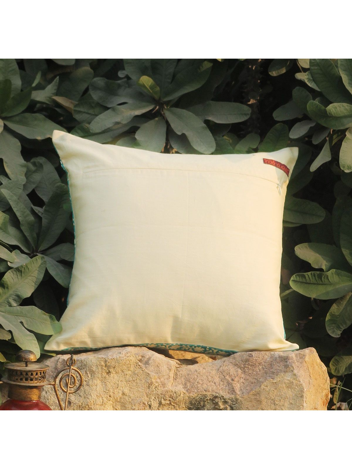 Rose Red Kuhar Zari cushion