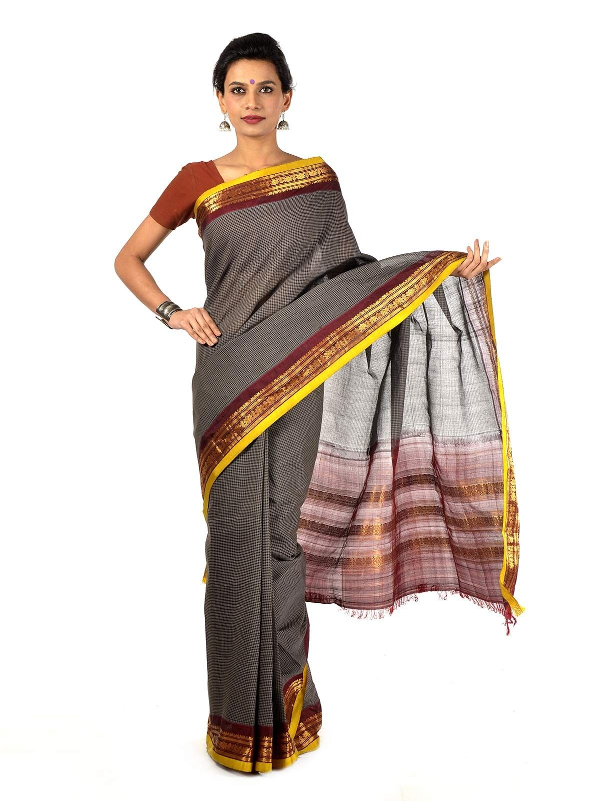 Gray Gadwal Cotton saree