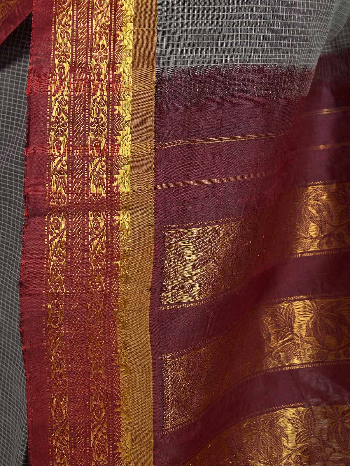 Steel gray Gadwal Cotton saree