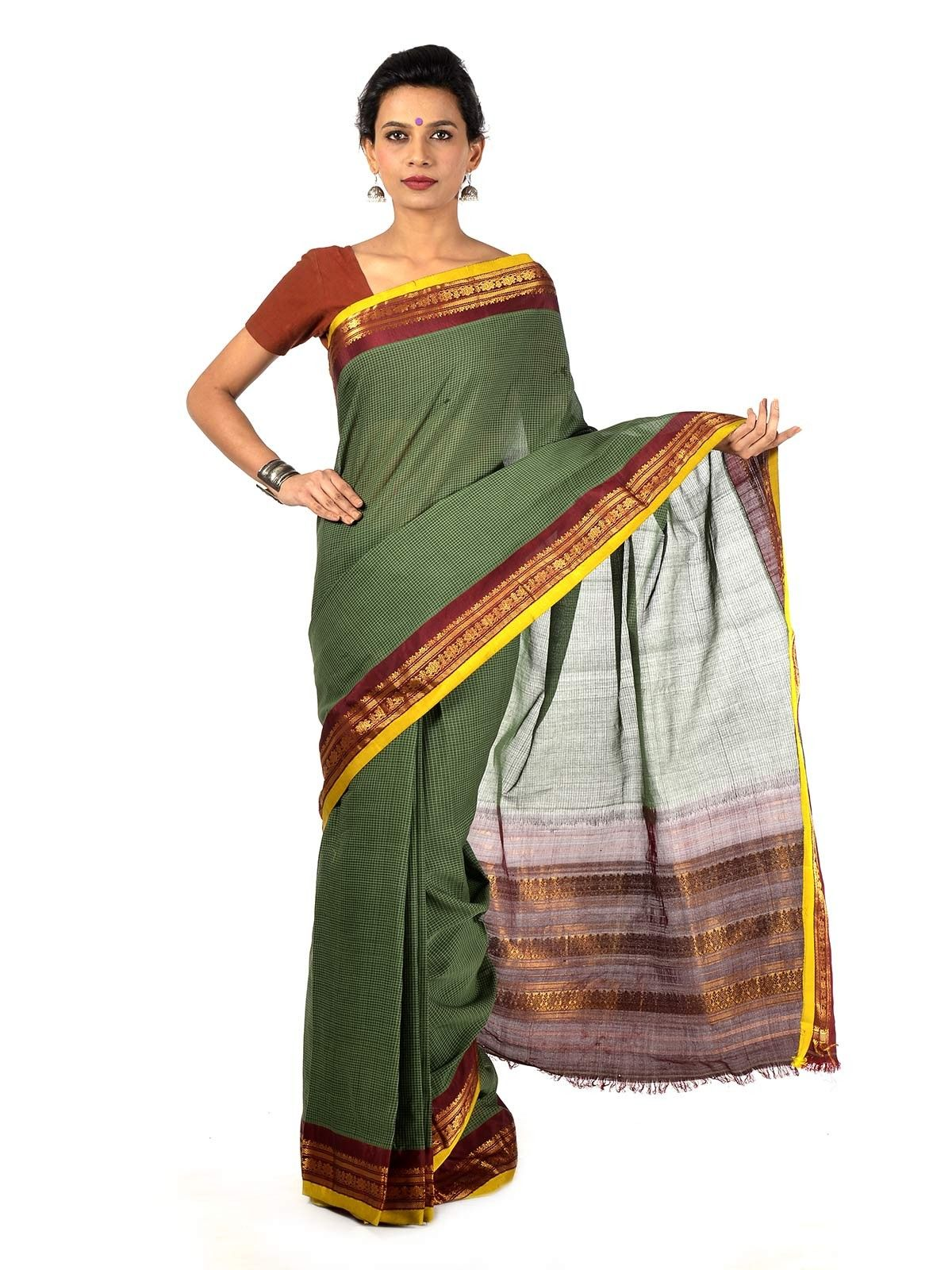 Military Green Gadwal Cotton saree