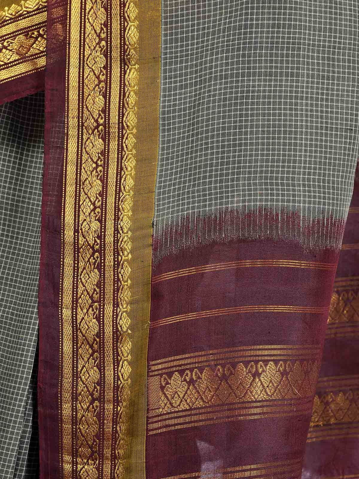 Cool Gray Gadwal Cotton saree