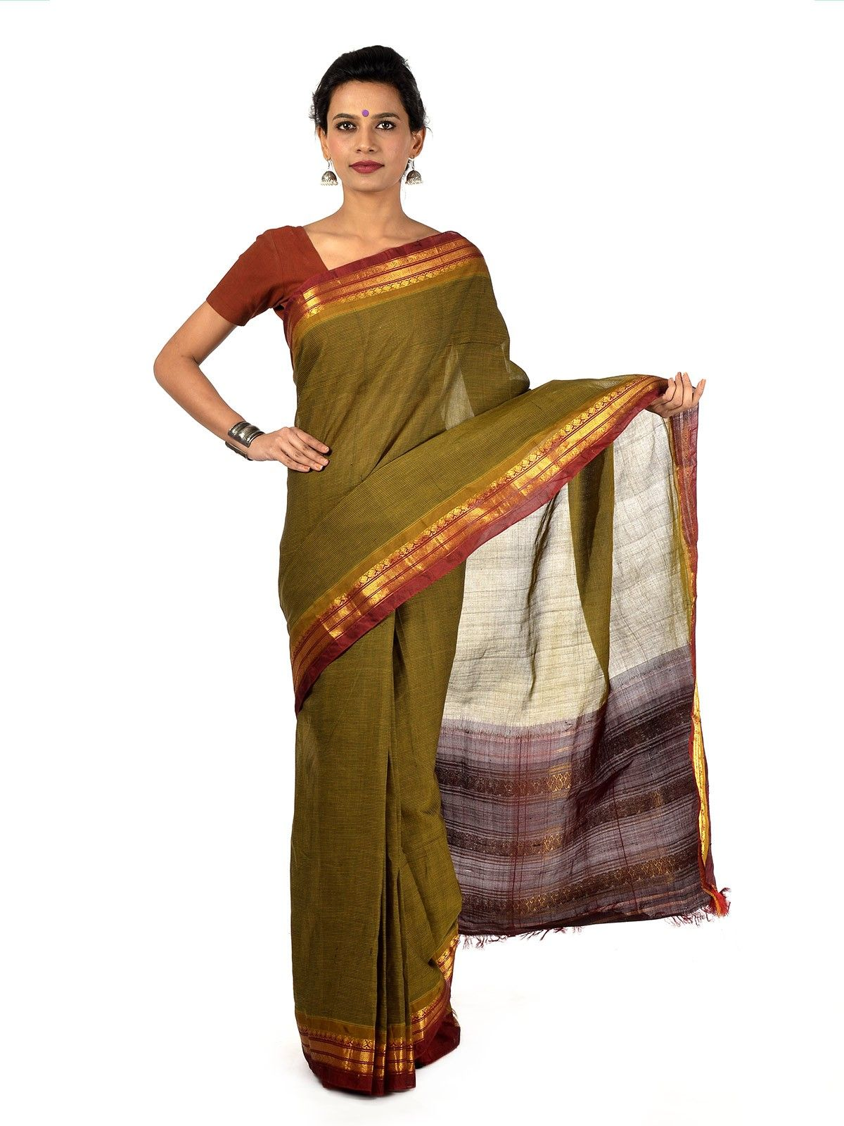 Avocado Gadwal Cotton saree