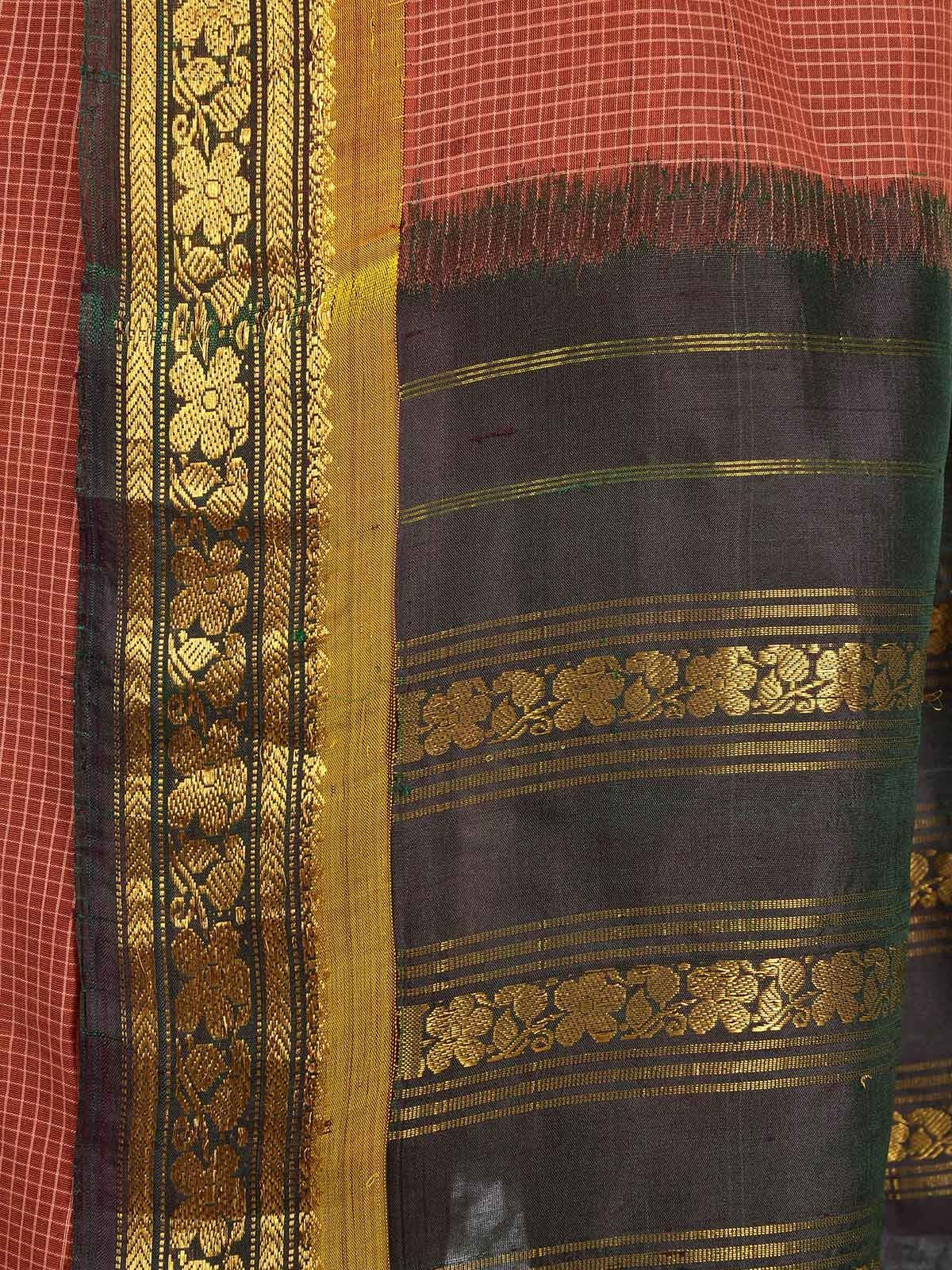 Brick Red Gadwal Cotton saree