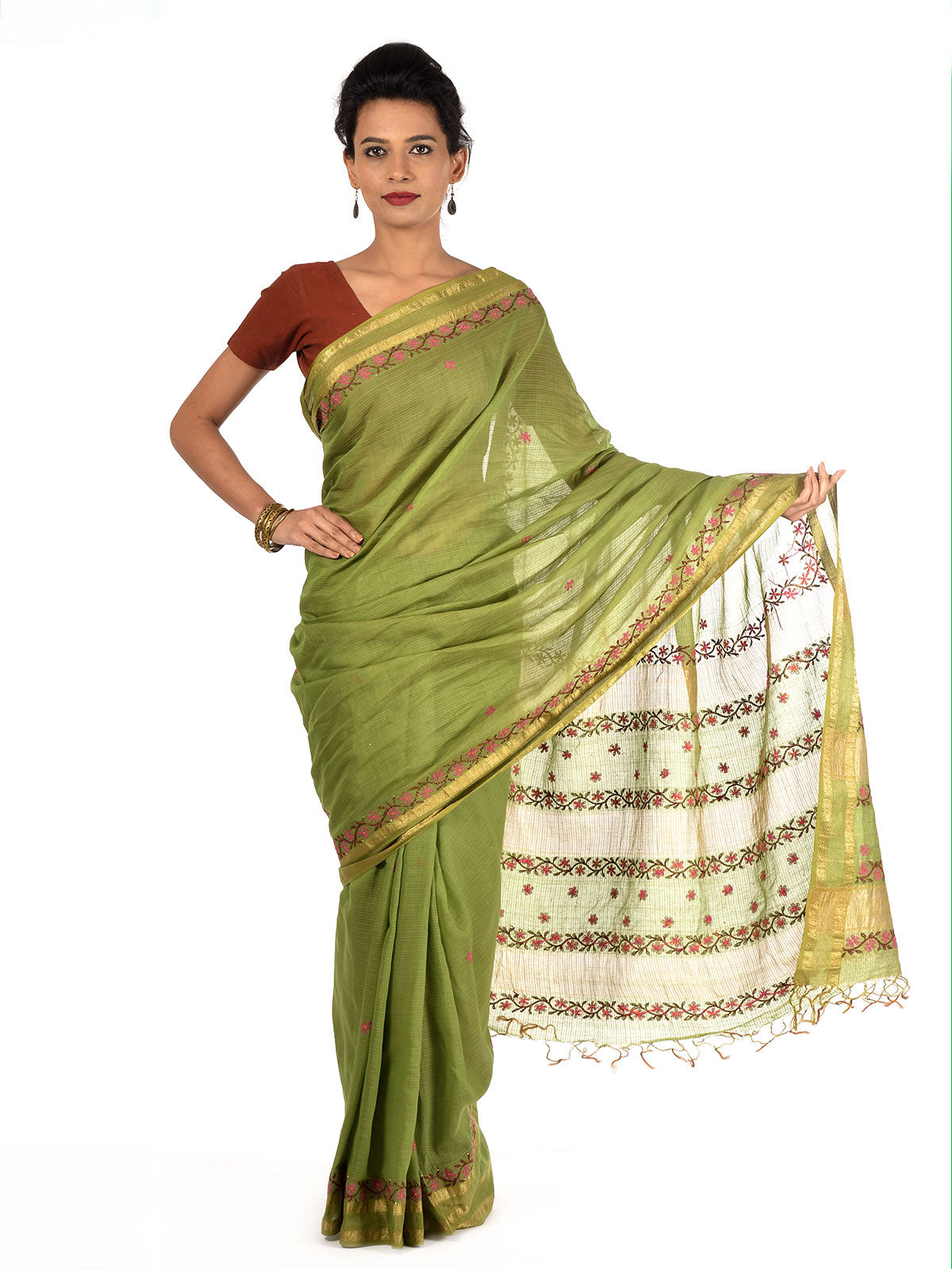 Popata Maheshwari Cotton Saree