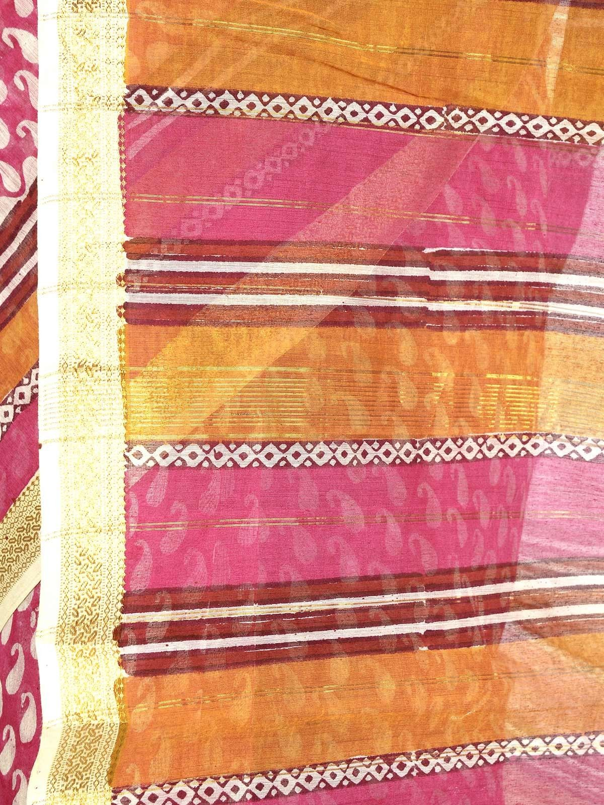 Pink rose Maheshwari saree