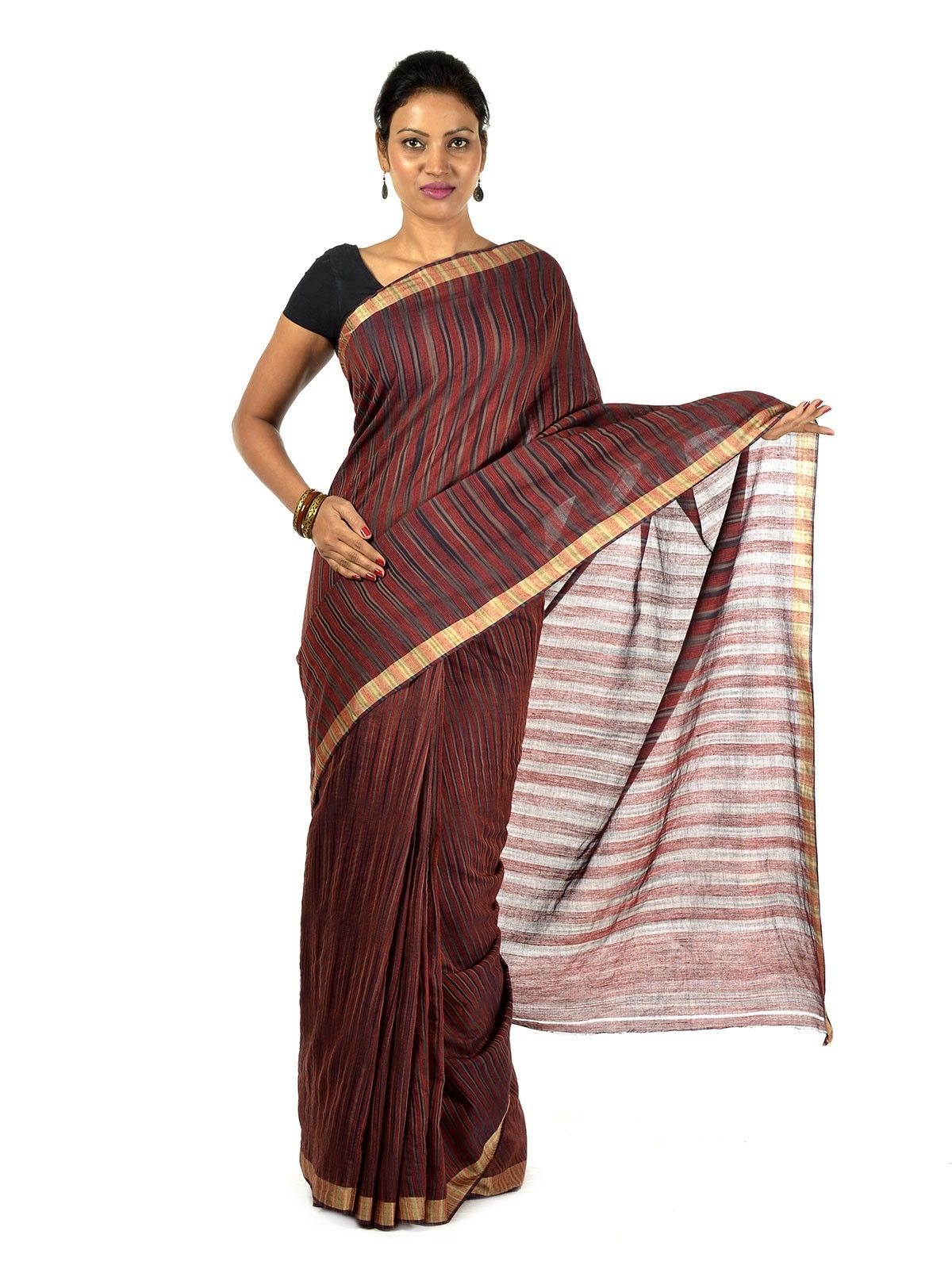 Crimson Muga cotton saree