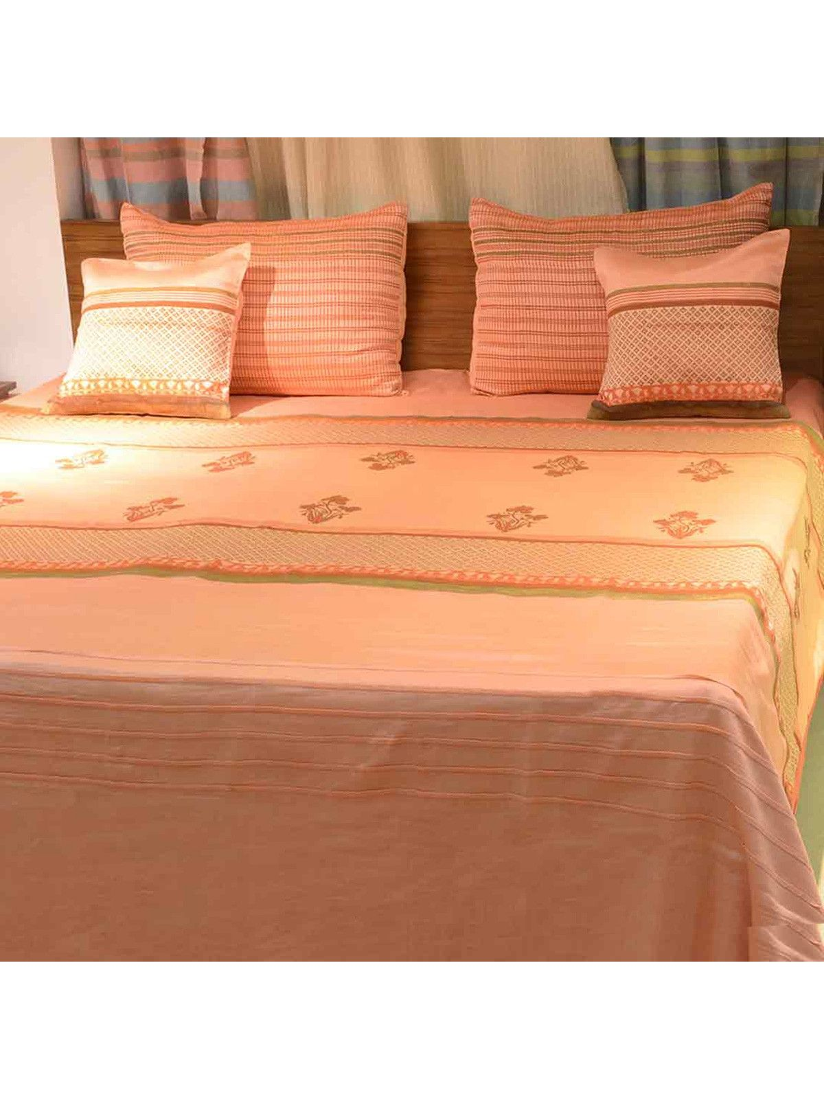 Orange Block Printed Chanderi Bedcover Set