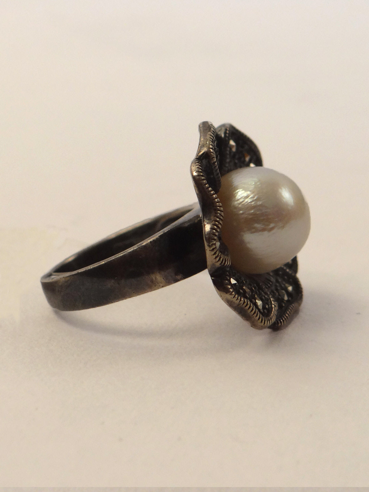 Indian August pure silver pearl studded ring
