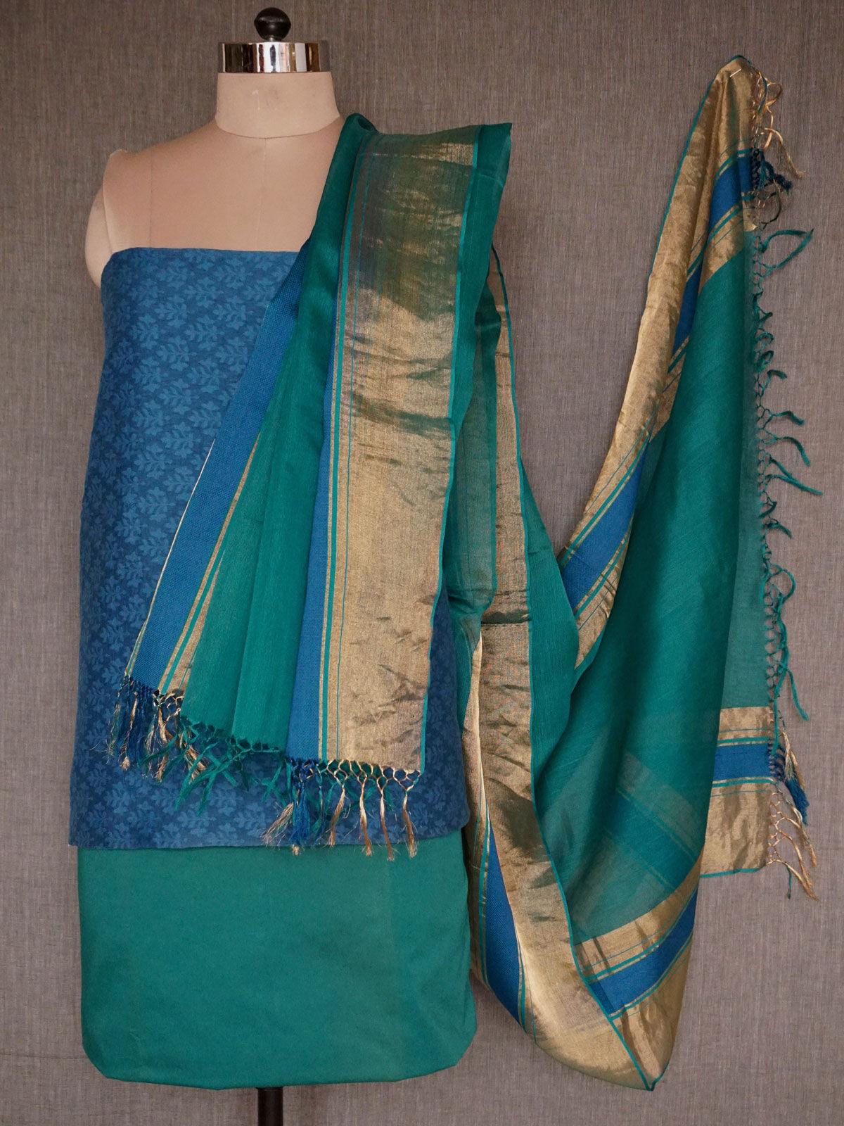 Blue green banarasi jamdani cotton dress material with  rich maheshwari dupatta