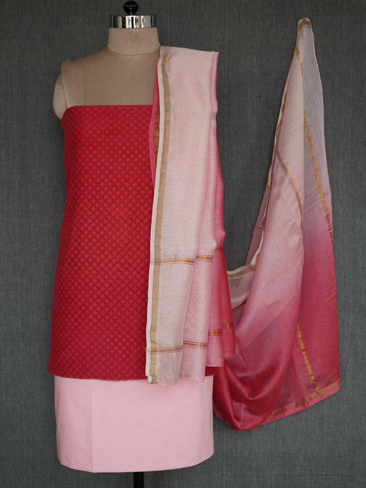 Pink shades banarasi cotton jamdani dress material with ombre chanderi dupatta
