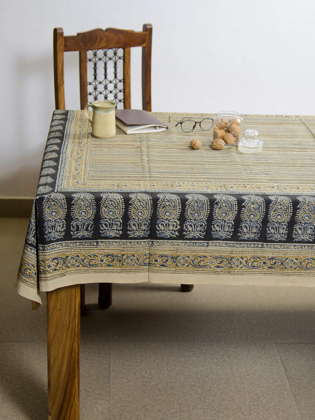 Charcoal Amra Kalamkari 4 seater table cover