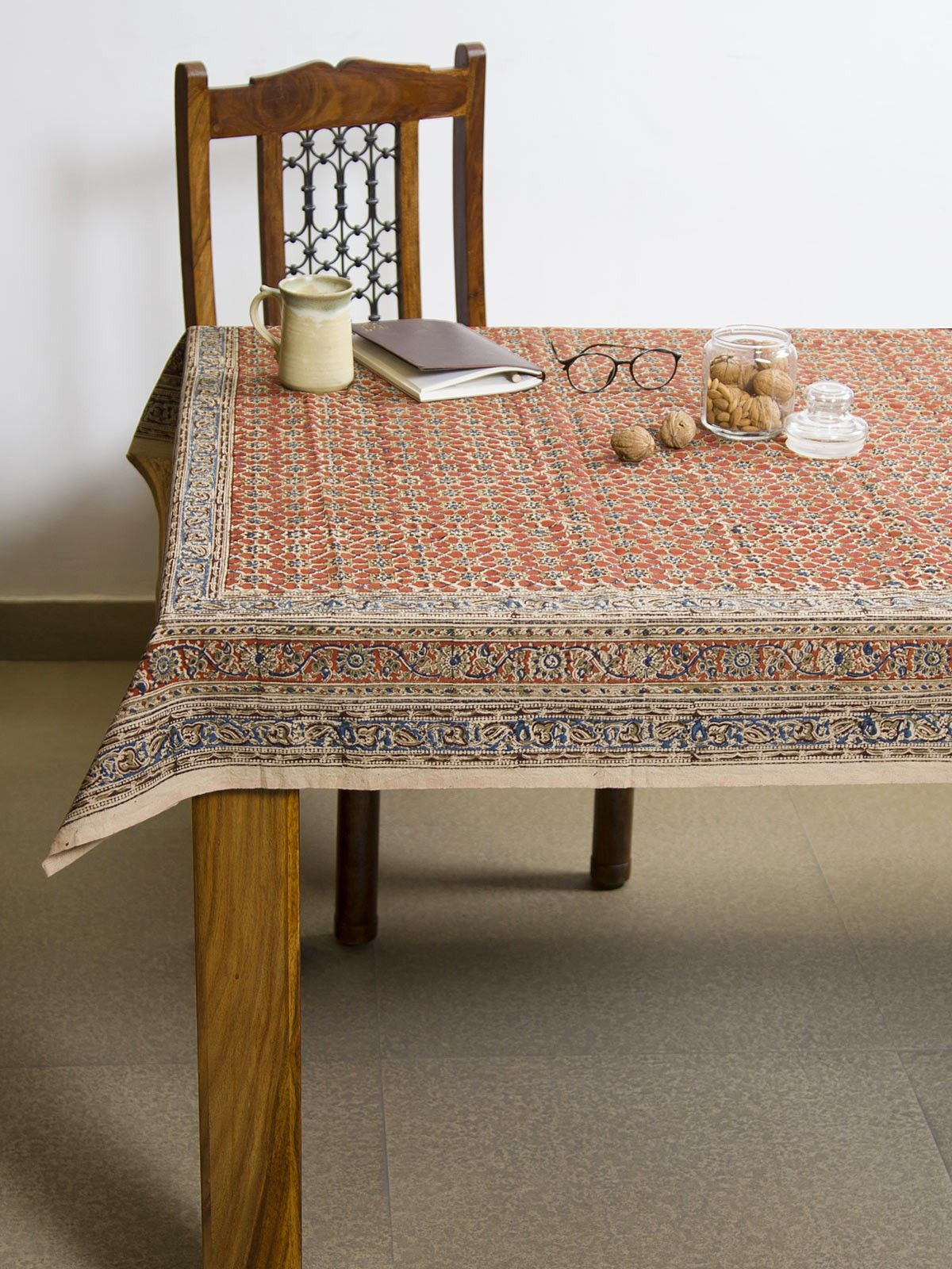 Apple Vayati Kalamkari 4 seater table cover