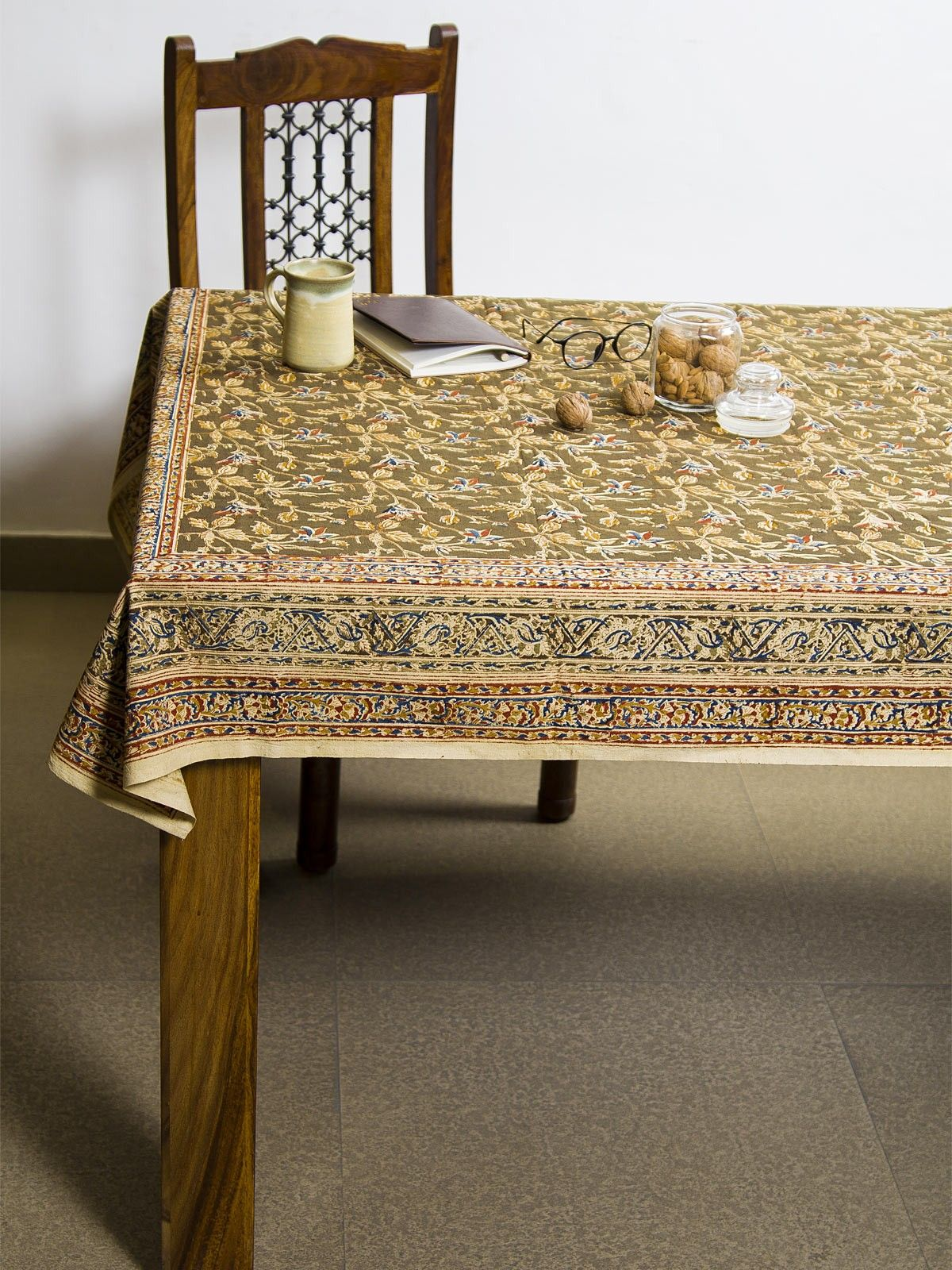 Mustard Ranha Kalamkari 4 seater table cover