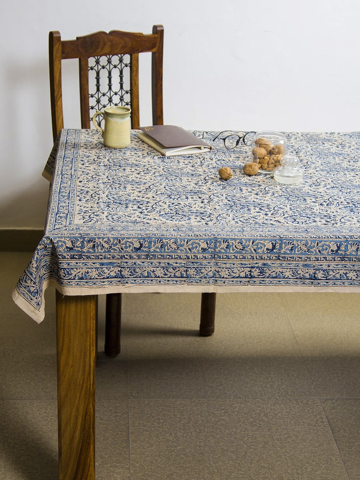 Cerulean Amra Kalamkari 6 seater table cover